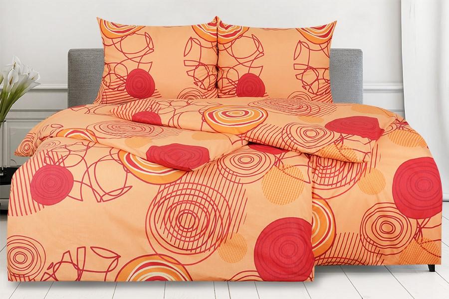 Bavlnené obliečky RENFORCÉ 4dielne KARERA oranžové