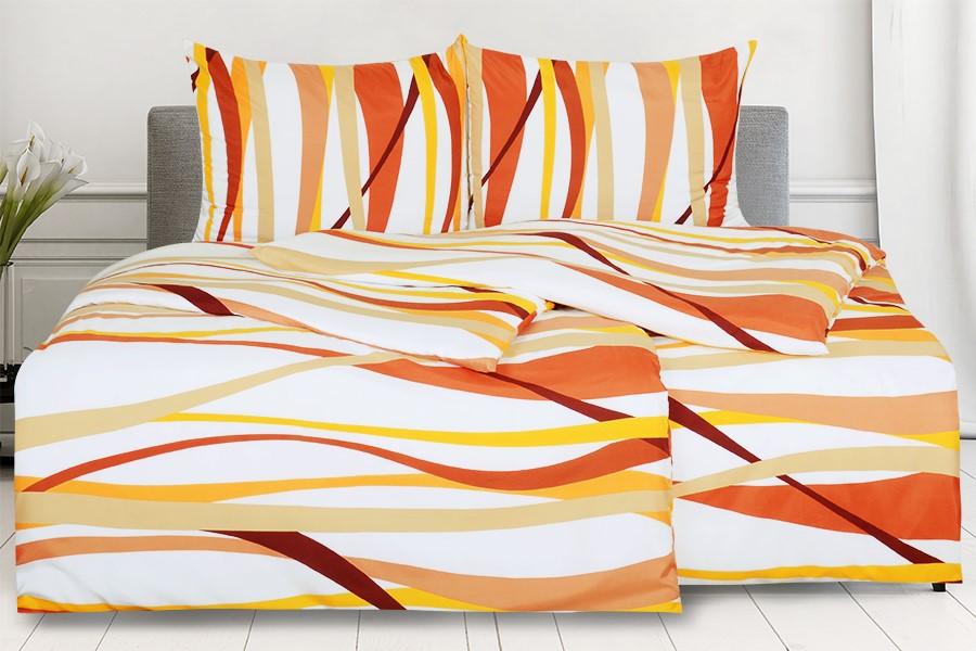 Obliečky z mikrovlákna s bavlneným efektom 4dielne RIVERA oranžové