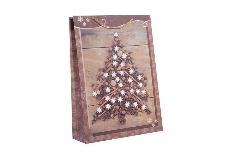 Vianočné taška XL STROMČEK hnedý