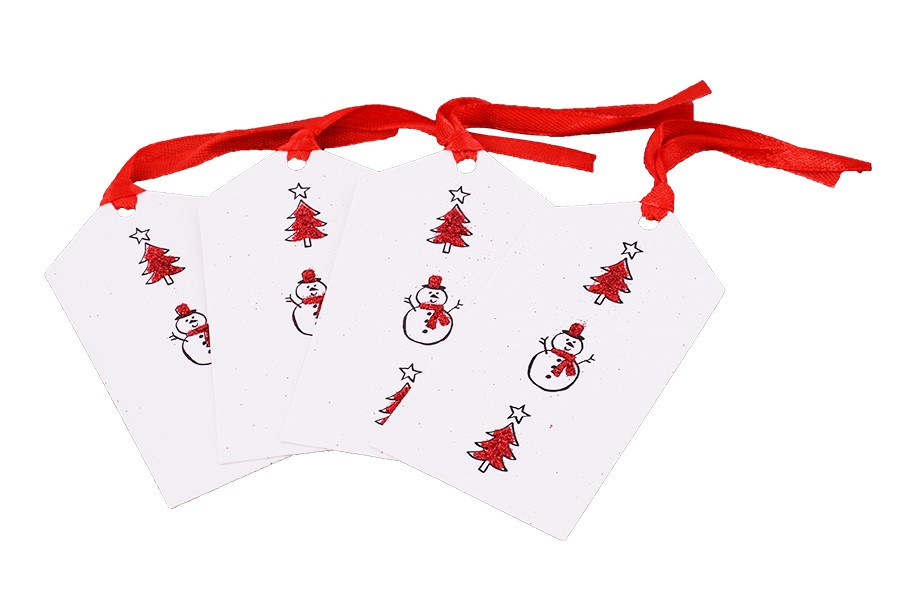 Kartičky na darčeky SNEHULIAK 4 ks