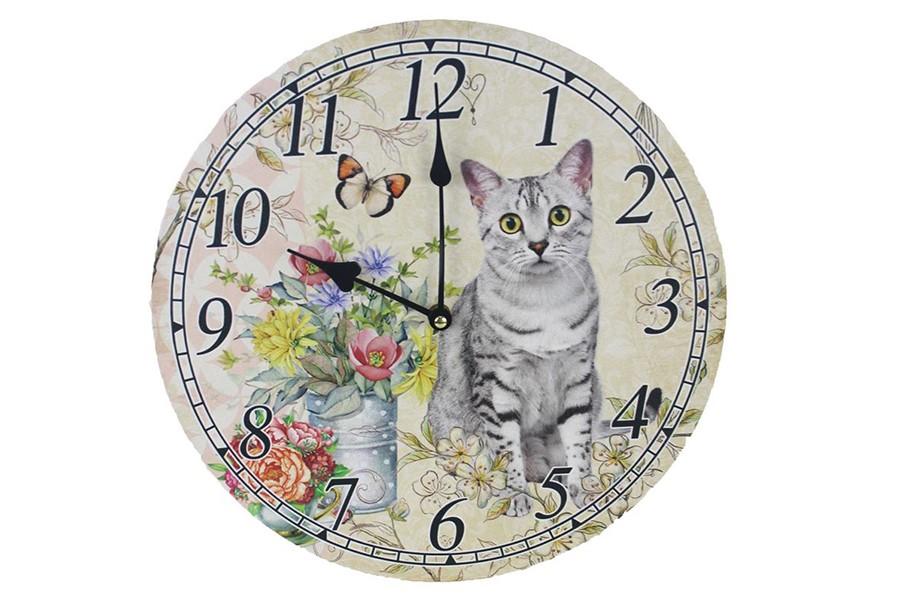 Dekoračné hodiny na stenu MAČKA 33 cm