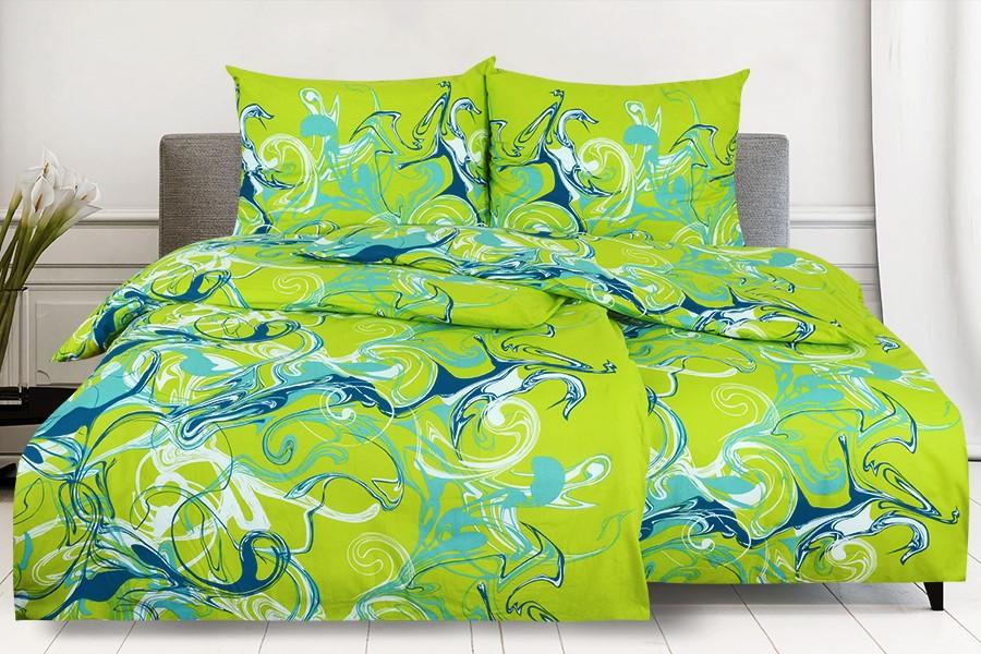 Bavlnené obliečky RENFORCÉ 4dielne SPIRIT zelené