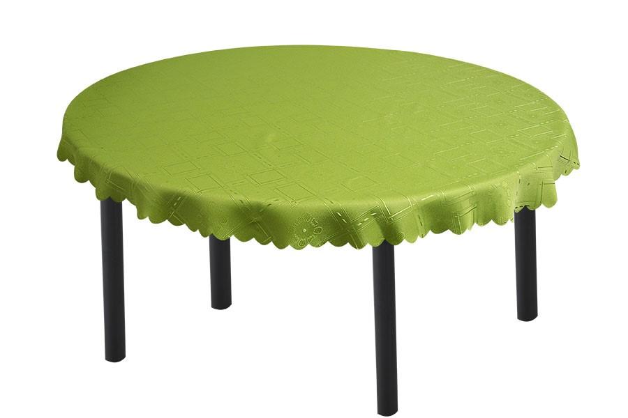 Žakárový oválny obrus KUBE zelený 140x180 cm